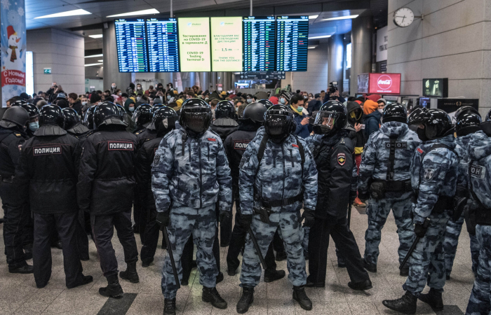 International outrage following the arrest of Navalny on his return to Moscow