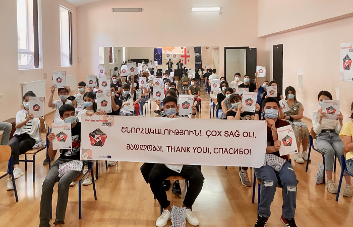 'Landmine Free South Caucasus 2021' kicks off with children at a Tbilisi school thanking deminers across the region