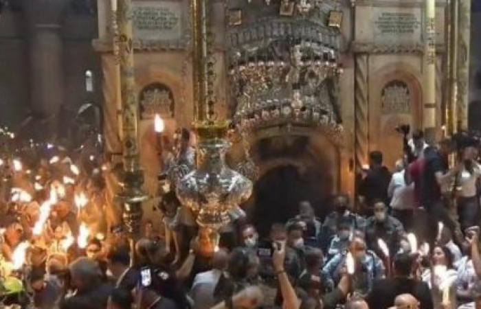 """The annual """"holy fire"""" ceremony in Jerusalem marks the start of Orthodox Easter"""