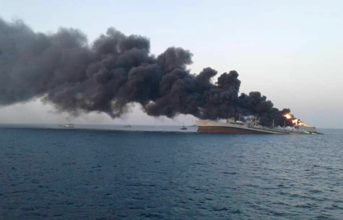 Large Iranian navy ship sinks after fire