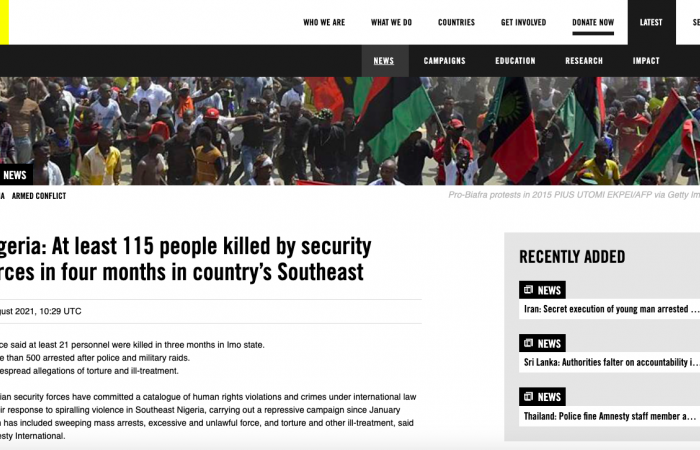 Amnesty International accuses Nigerian security forces of killing 115 in crackdown on southeastern pro-independence movement