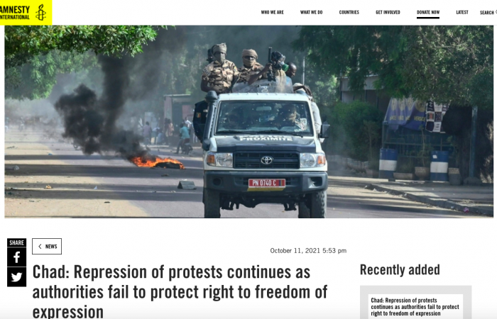 Amnesty International urges Chad junta to stop intimidating critical voices