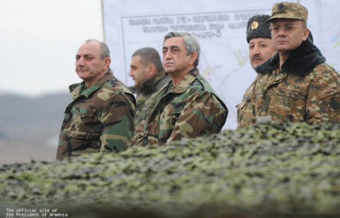 """Armenian Leaders inspect """"Line of contact"""""""
