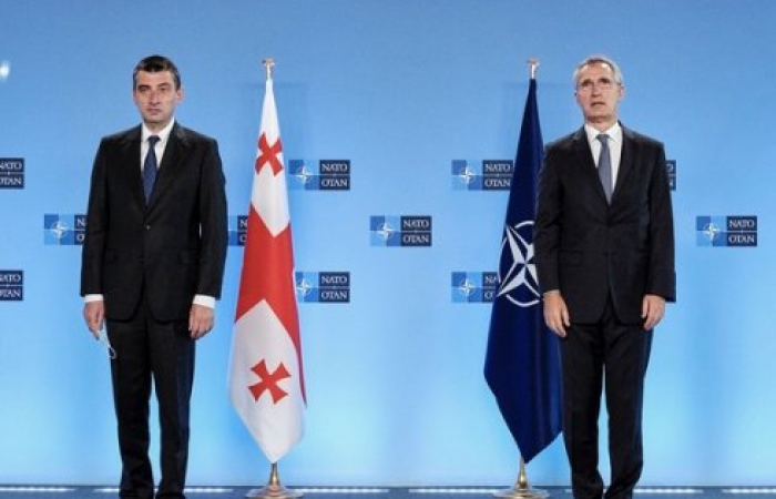 NATO Secretary General welcomes Prime Minister Gakharia of Georgia at NATO Headquarters in Brussels